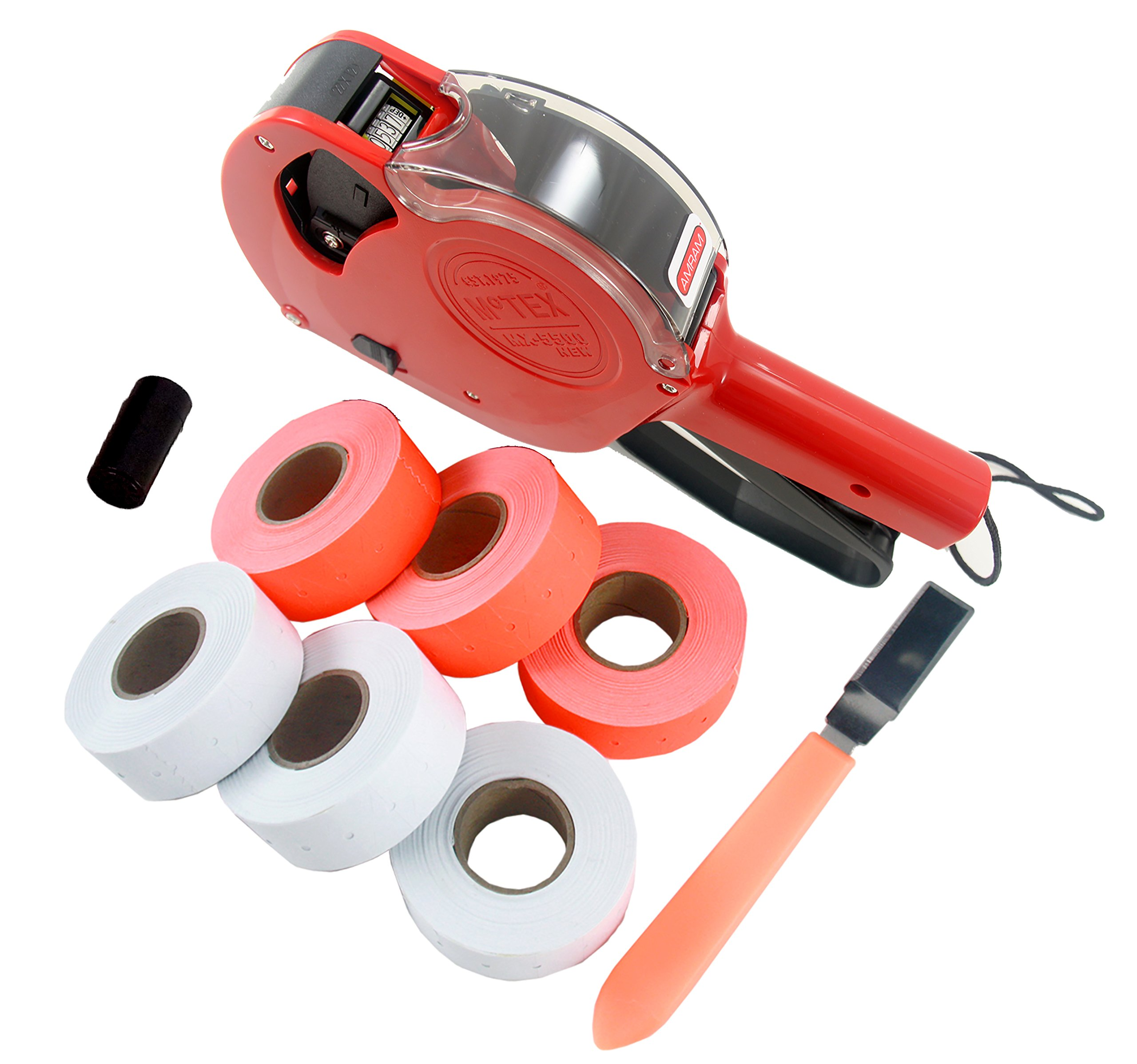 Amram 1 Line/ 6 Characters Price Marker Starter Kit, Includes 6,000 Labels, 1 Pre-Loaded Ink Roller, 1 Label Peeler Tool.