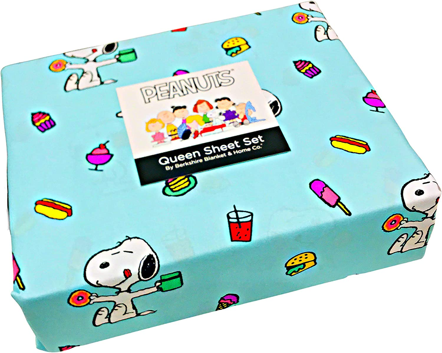 Queen Sheet Set Aqua//Turquoise by Berkshire Peanuts Gang Snoopy /& His Snacks 4-pc