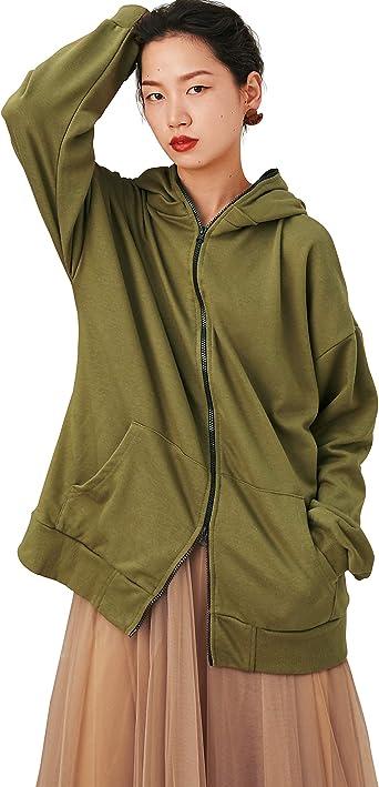 Rrive Womens Print Loose Fit Long Sleeve Zipper Casual Hooded Sweatshirt Coat