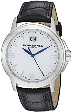 Raymond Weil Mens 5576-ST-00307 Tradition Stainless Steel Case Black Leather Strap with