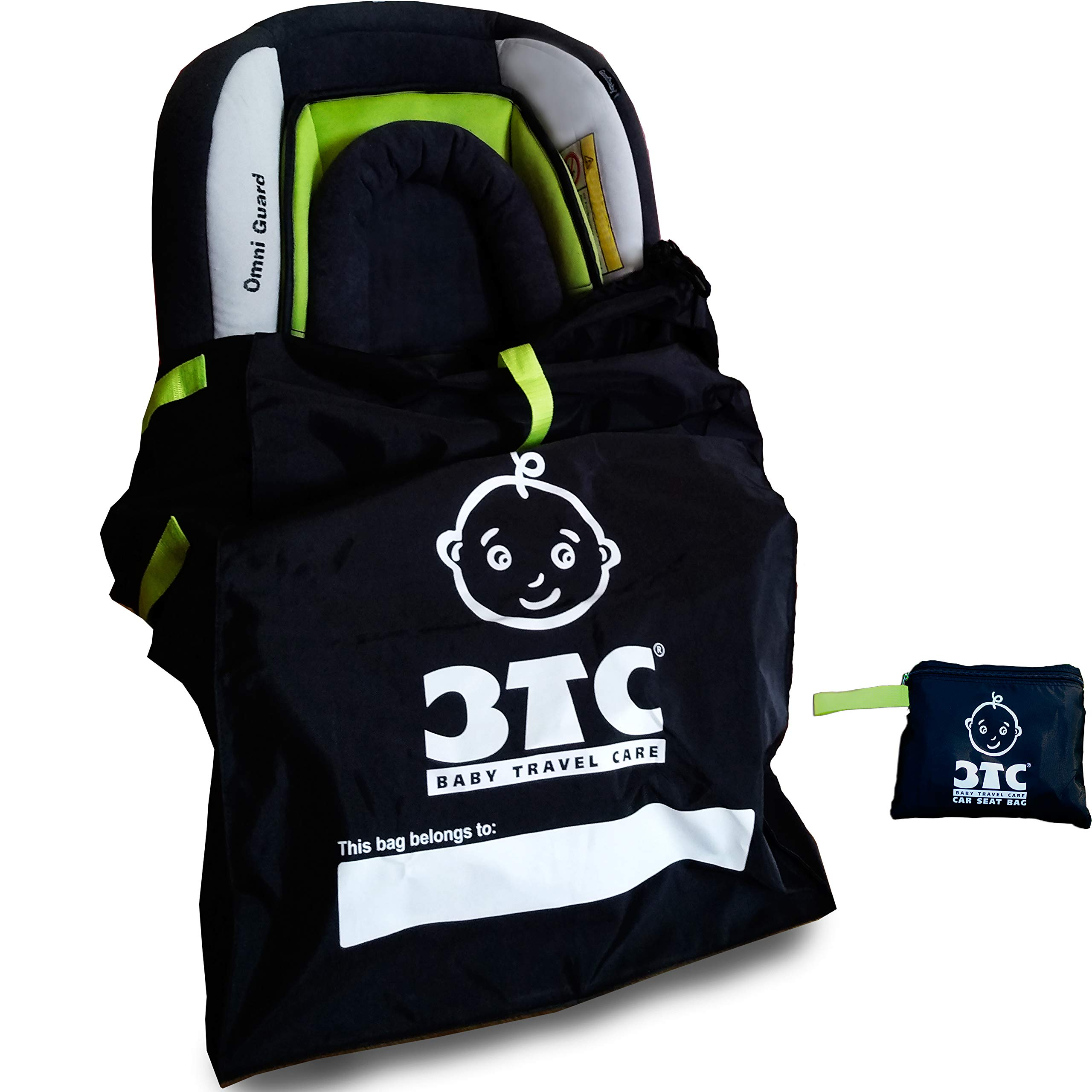 Car Seat Travel Bag + Car Seat Travel Strap - Gate Check Bag for Car Seats by BTC - Baby Travel Care