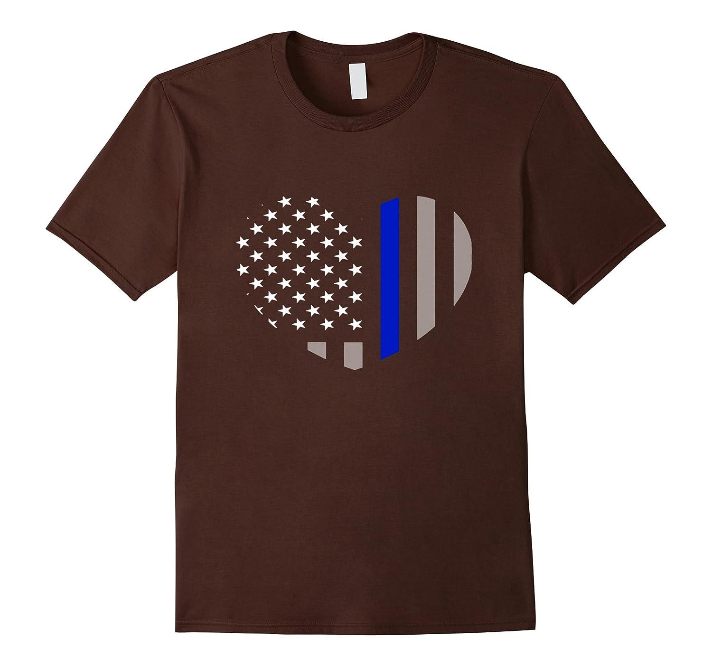 Blue Lives Matter Blue Line - Heart Flag Police Tshirt-CL