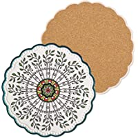 Ceramic Stone Trivets for Hot Pots and Pans, Trivets for Hot Dishes, Spoon Rest and Large Coasters, Cork Base, Beautiful…