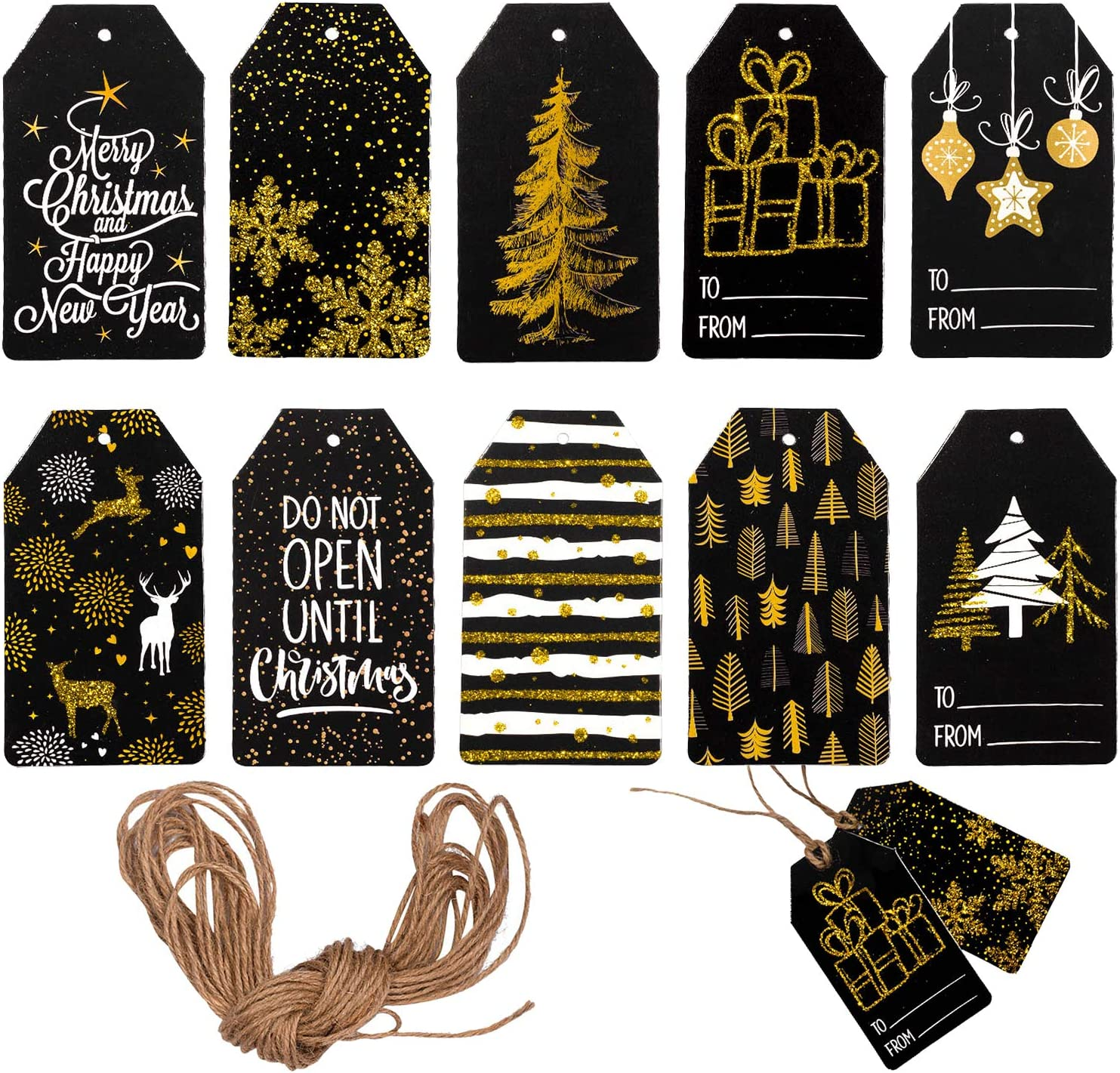 Whaline Christmas Paper Gift Tags Glitter Black Merry Christmas Tags with Jute Twine 10 Designs Holiday Hanging Labels Name Tags for Winter Xmas DIY Gifts Party Favor Decoration, 100 Pack