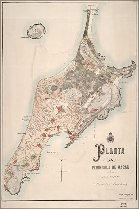 Amazon Com 42x63 Poster Map Of Macau China 1889 Everything Else