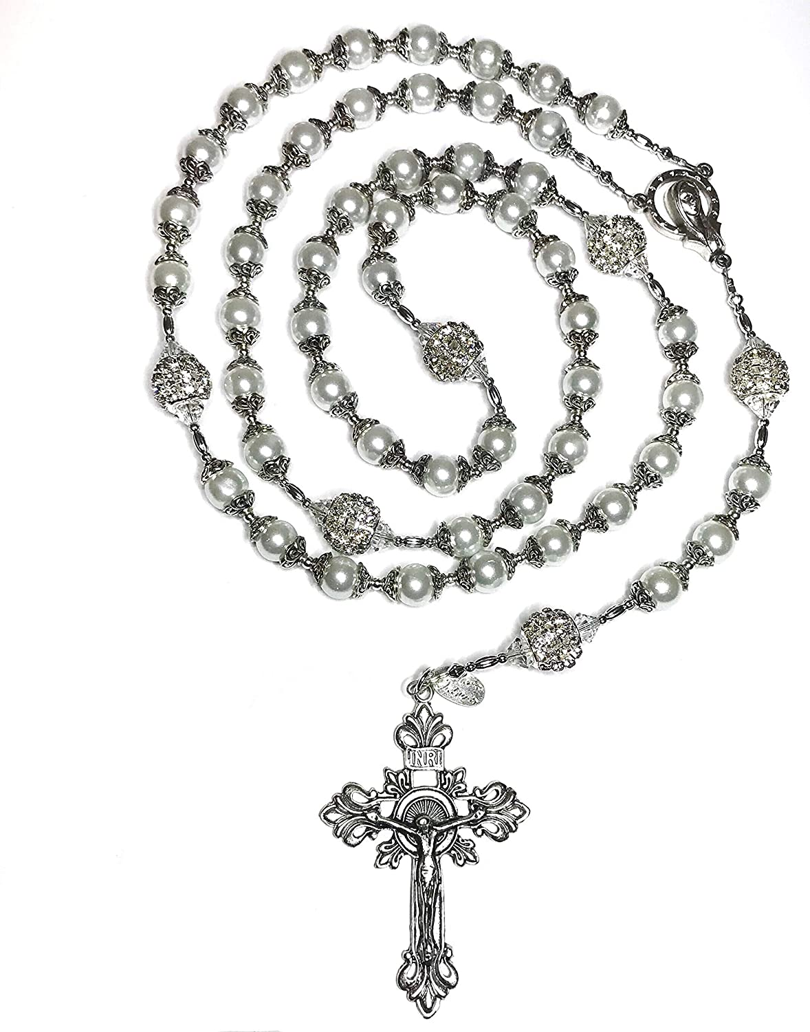 Gold rosary christening crucifix cross /& Mary pearl ball charm pendant necklace