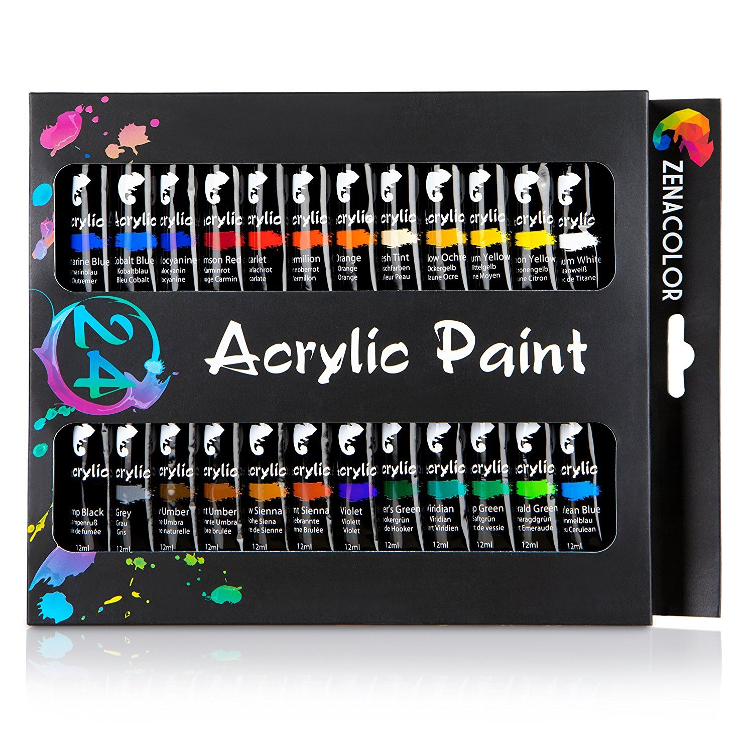 24-tube acrylic paint set by Zenacolor – pack of 24 x 12ml paint tubes - High-quality non-toxic painting - 24 unique and different colors - Perfect for beginners and professionals alike - Dense pigments and fast drying – Can easily be used on canvas, wood