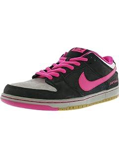 Nike Mens Dunk Low Premium SB QS Disposable Black/Pink Foil-White Leather Skateboarding