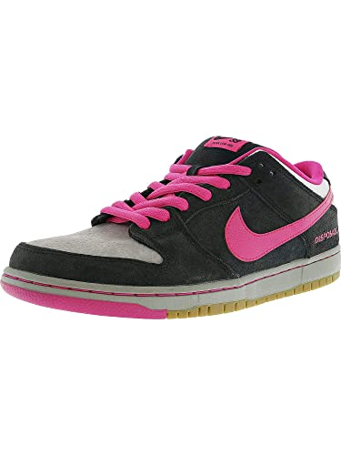 48aeb3381d783 Nike Mens Dunk Low Premium SB QS Disposable Black Pink Foil-White Leather  Skateboarding