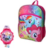 "My Little Pony 2 Piece Kids Backpack Set - 16"" Talking Voice Backpack & Girls Watch"