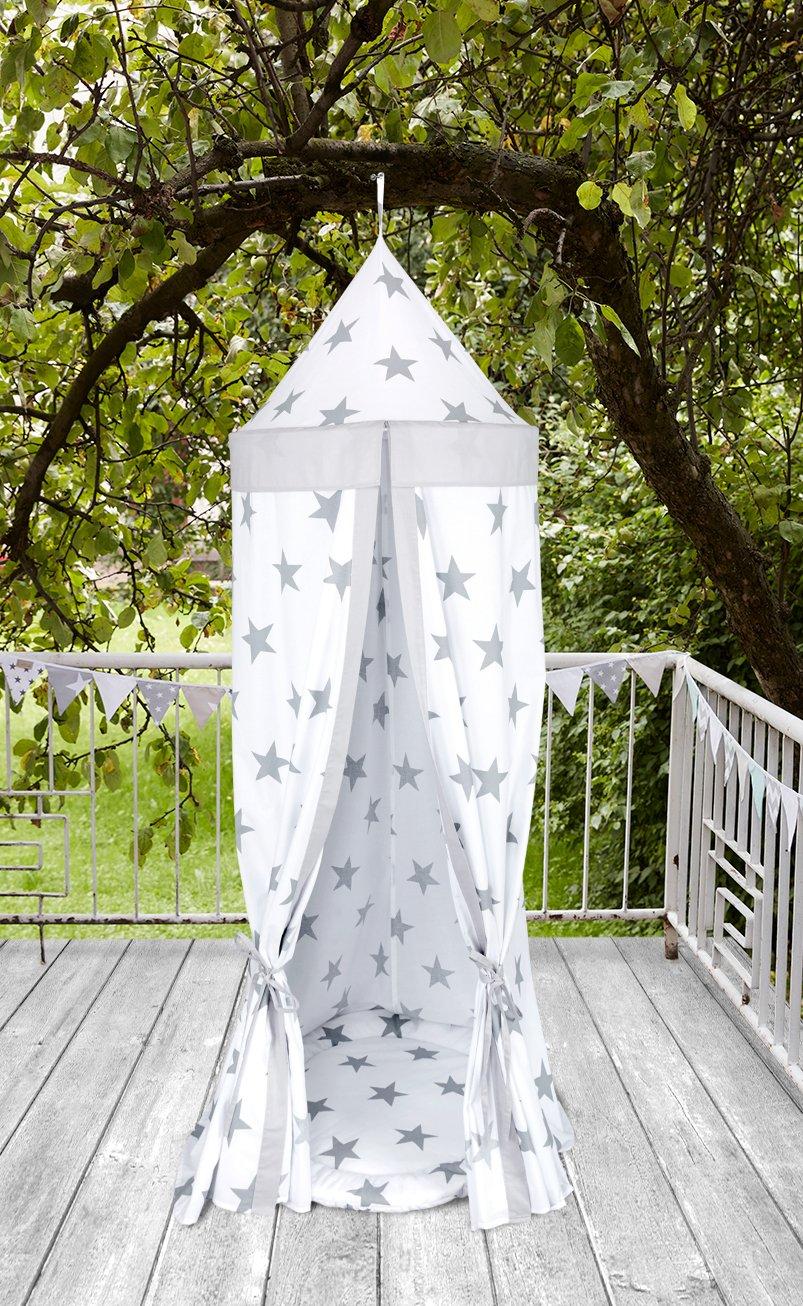 KraftKids Hängezelt große graue Sterne auf Weiss und Unigrau