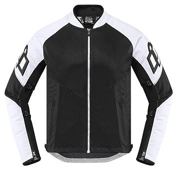 Icon Mesh AF - Chaqueta para motocicleta, color blanco y negro: Amazon.es: Coche y moto