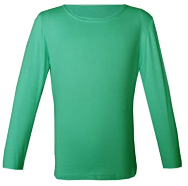 57dbe62a PANZY Girls Long Sleeve Plain Basic TOP Kids T-Shirt Tops Crew Uniform TEE 2-13Y  by (4-5 yrs, Mint): Amazon.co.uk: Clothing