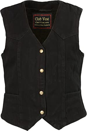 Black, 2X Club Vest Womens Side Lace Denim Vest with Chest Pockets