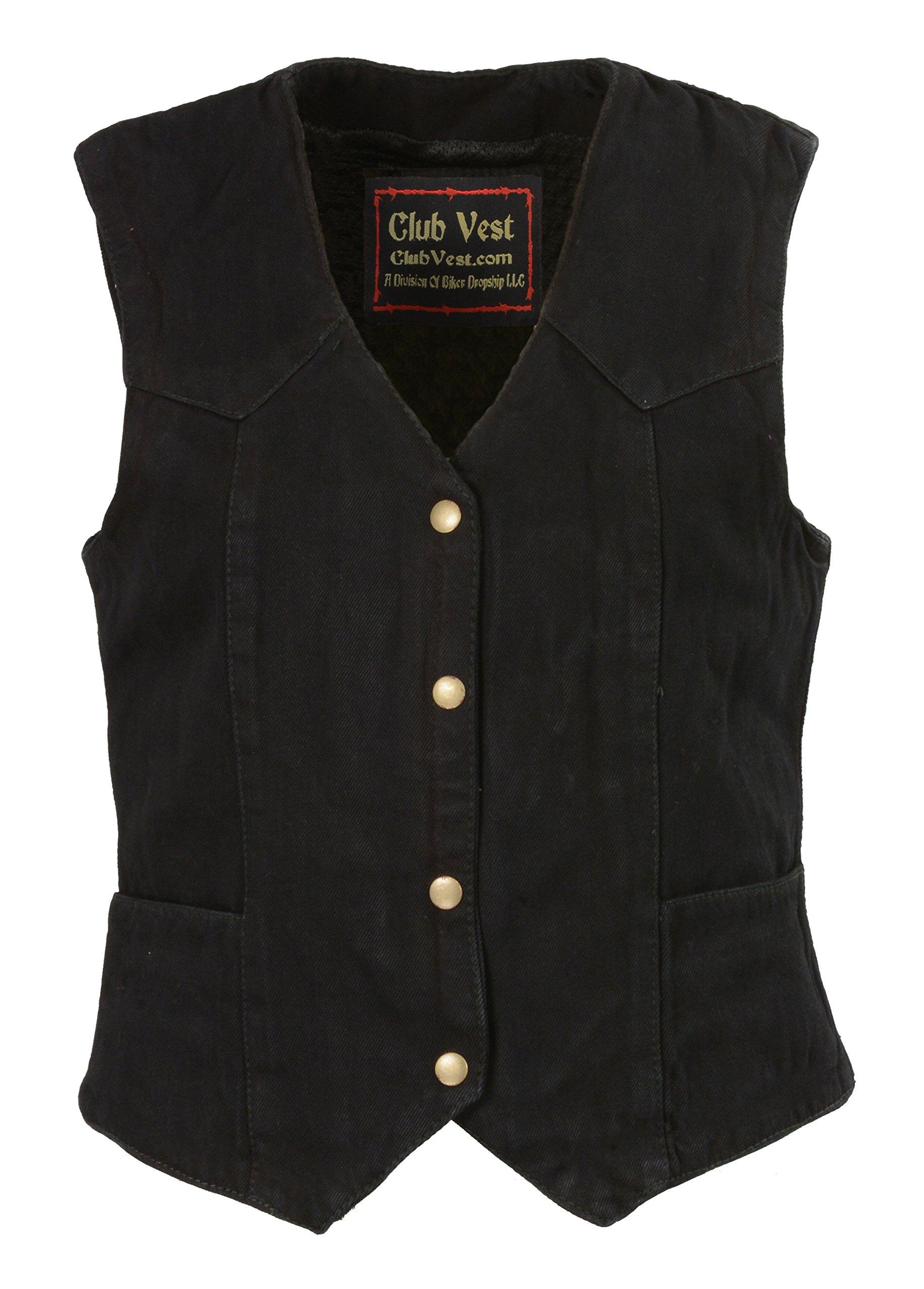 CLUBVEST-women's Plain Side 3 Snap Front Denim Vest-BLACK-4X