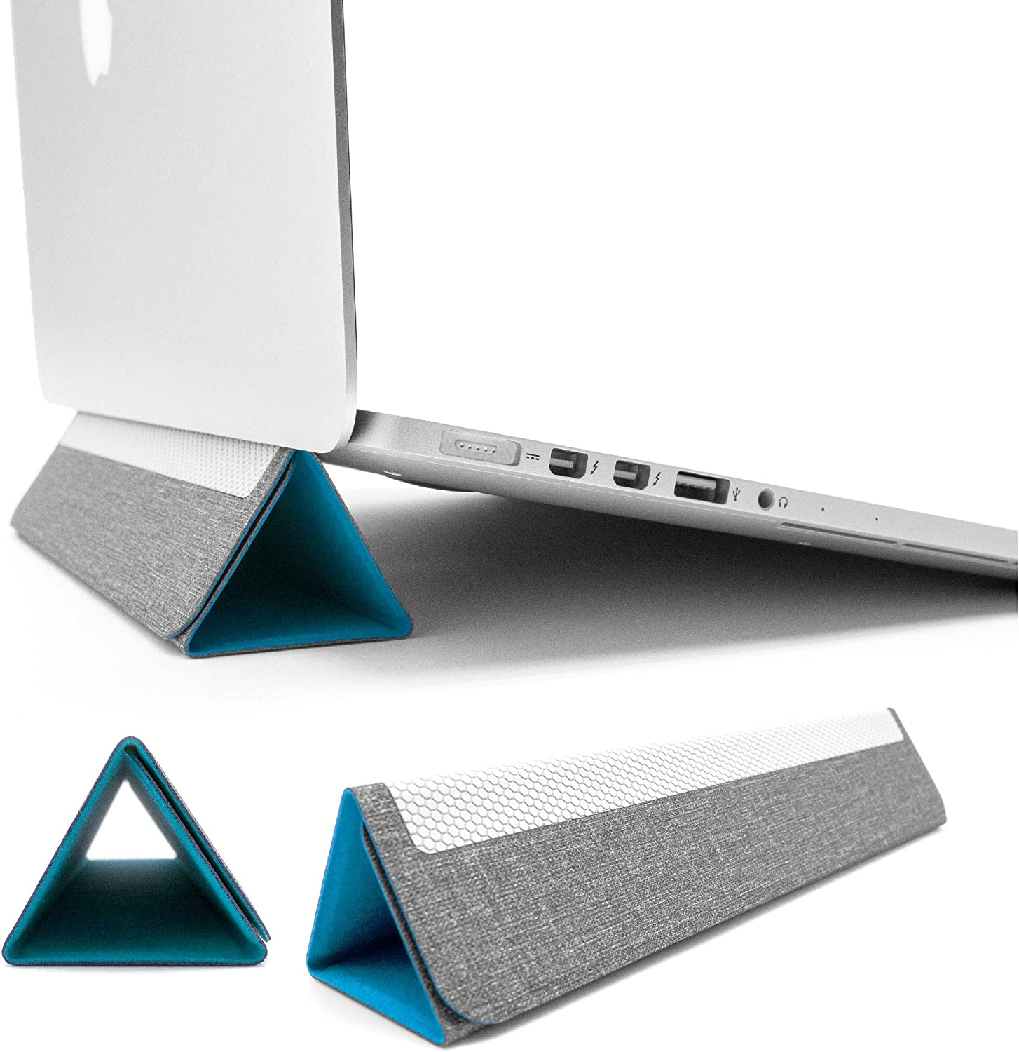"""SenseAGE Pyramid Foldable Laptop Stand, Lightweight Laptop Stand, Anti-Slide and Portable Notebook Stand, Compatible with MacBook/MacBook Air/MacBook Pro, Tablets and Laptops up to 15"""", Sky Blue"""