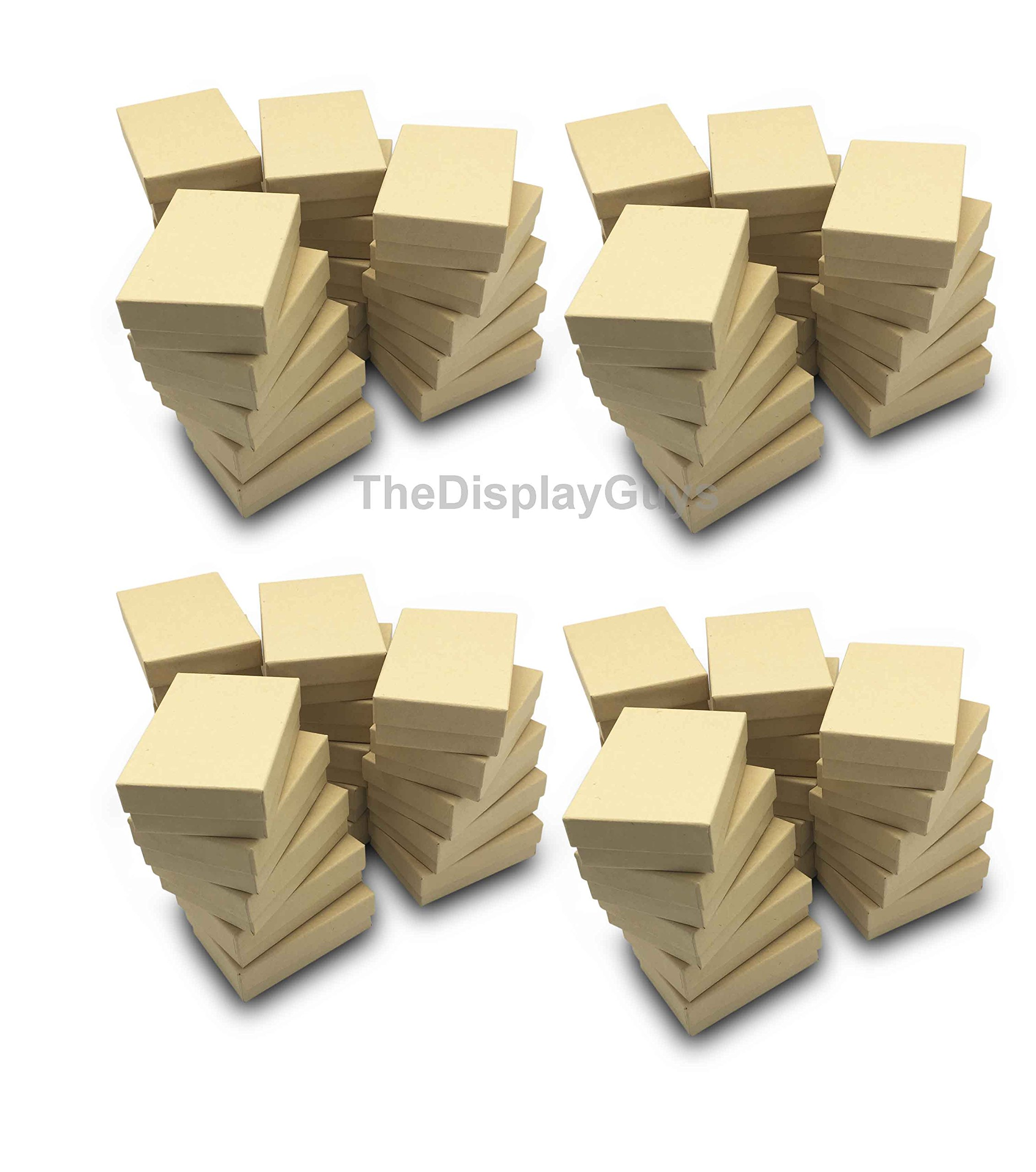 The Display Guys~ Pack of 100 Cotton Filled Cardboard Paper Kraft Jewelry Box Gift Case - Kraft Brown (3 1/4x2 1/4x1 inches #32) by The Display Guys