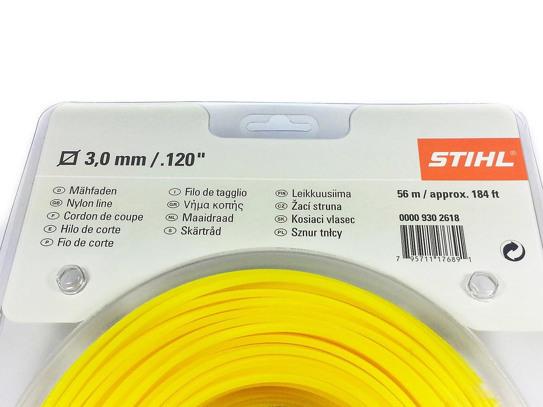STIHL 3 mm línea de cortacésped cuadrado 56 m/5608,32 cm: Amazon ...