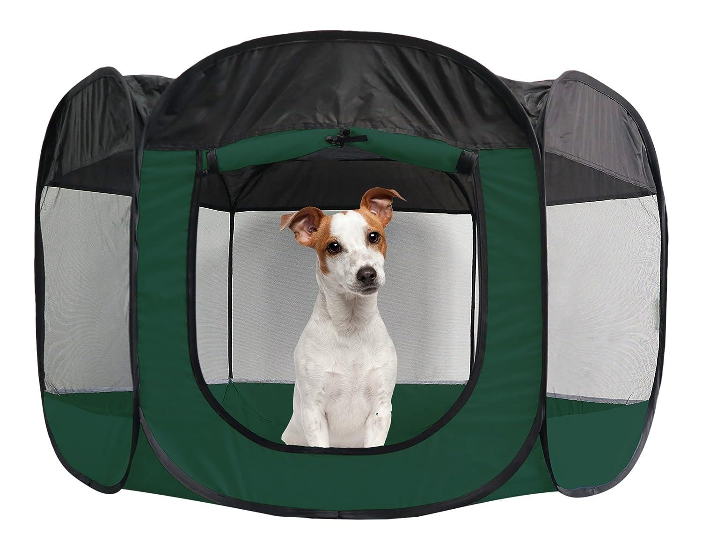 FurHaven Pet Playpen   Mesh Open-Air Dog Playpen Exercise Pen, Hunter Green, Large