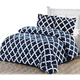 Amazon Price History for:Printed Comforter Set (Queen, Navy) with 2 Pillow Shams - Luxurious Soft Brushed Microfiber - Goose Down Alternative Comforter by Utopia Bedding