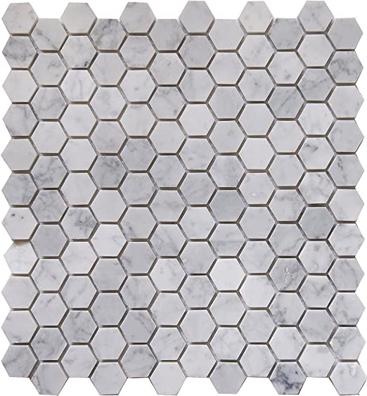 Genuine Carrara White Marble Mosaic Tile Chip Size 1X2 Herringbone 12X11X3//8 Lot of 50 Sheets Polished CWMM1CRO
