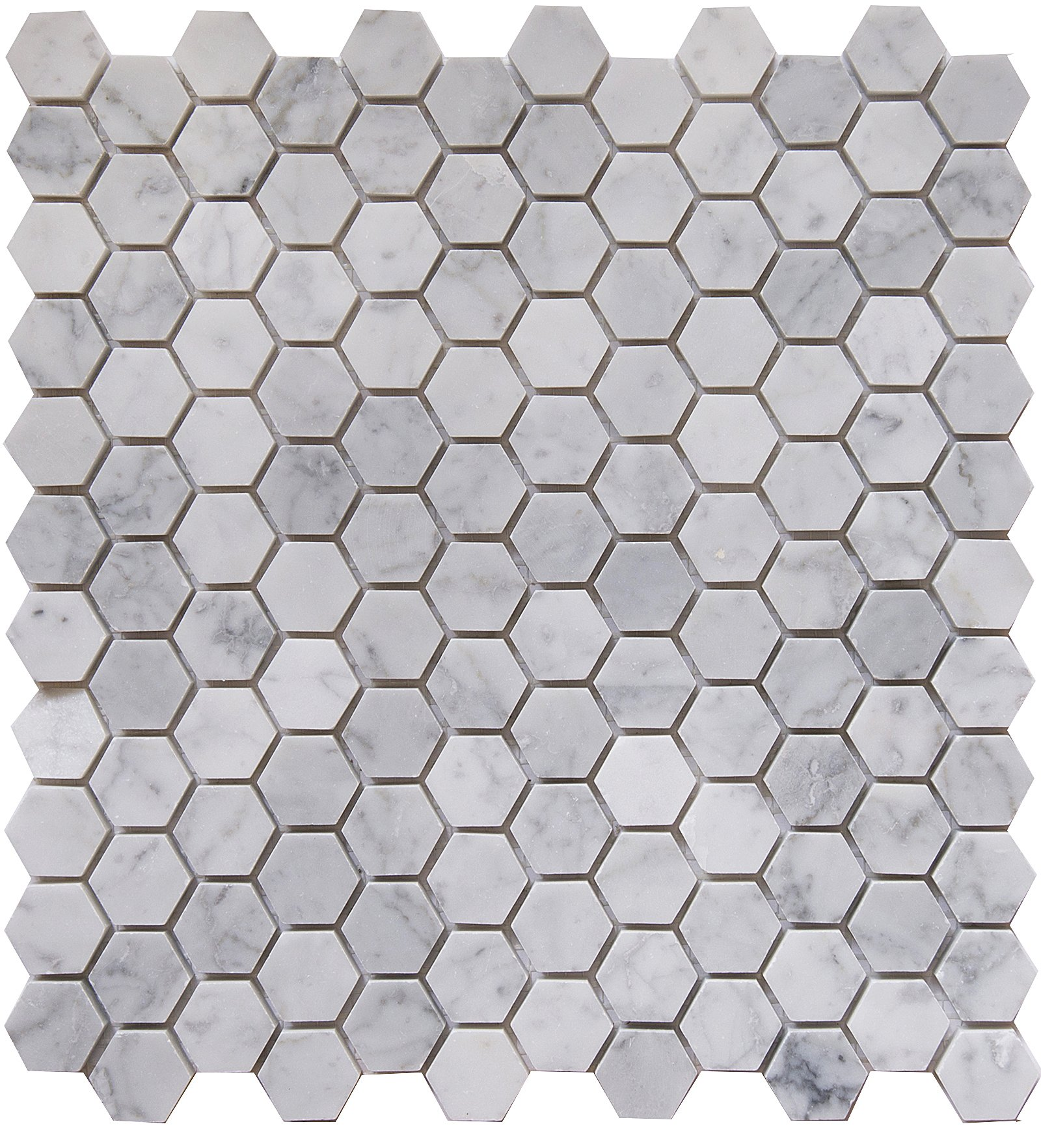 Carrara White Marble Mosaic Tile, CWMM1HEX, Chip Size 1'' Hexagon, 11-1/2''X11 X3/8'', Polished (Box of 5 Sheets)