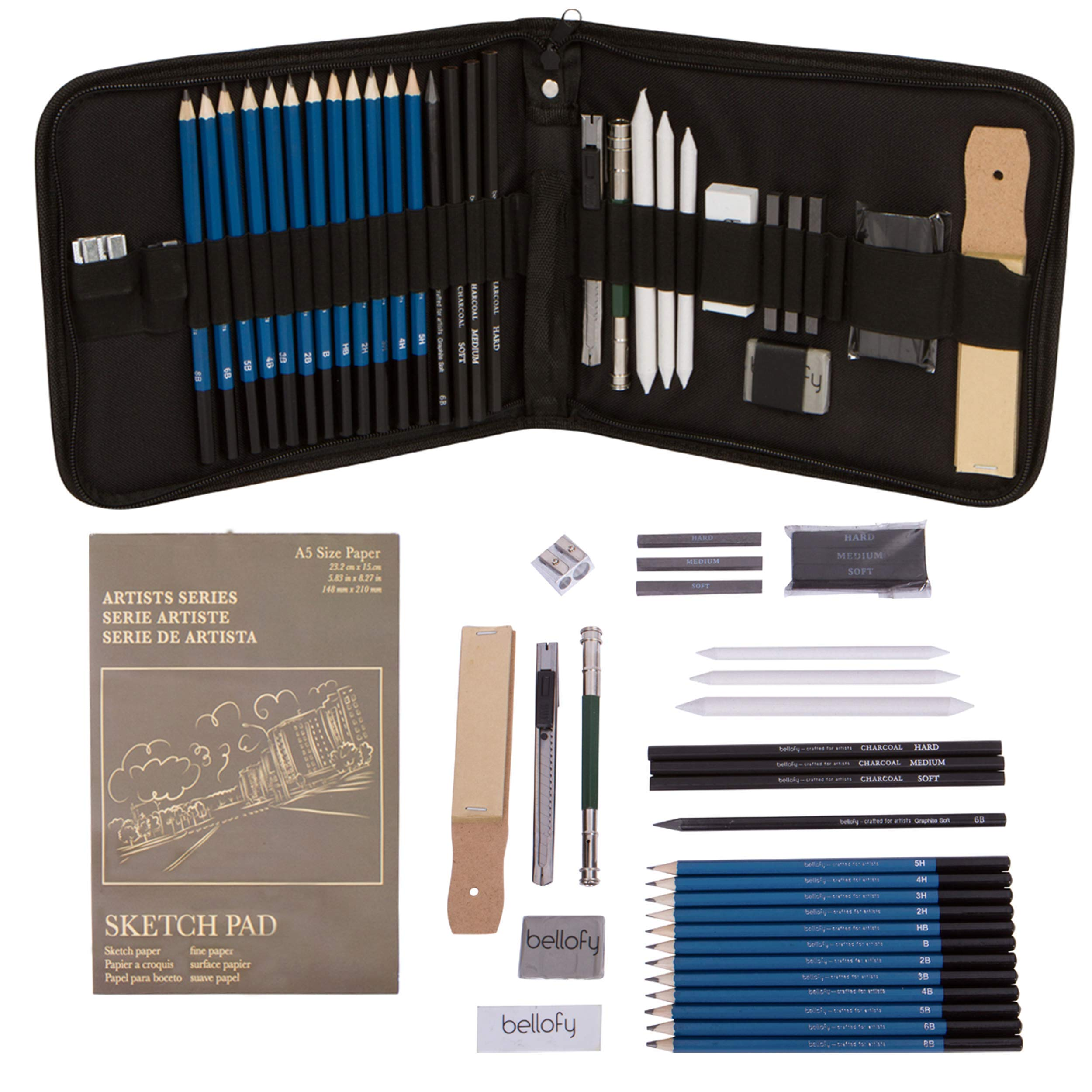 Bellofy Professional Drawing Kit Artist Drawing Supplies Kit | 33-Piece Sketch Kit, Erasers, Kit Bag, Free Sketchpad | Perfect Graphite Drawing Pencil Set for Sketching | Art Pencils for Shading by Bellofy