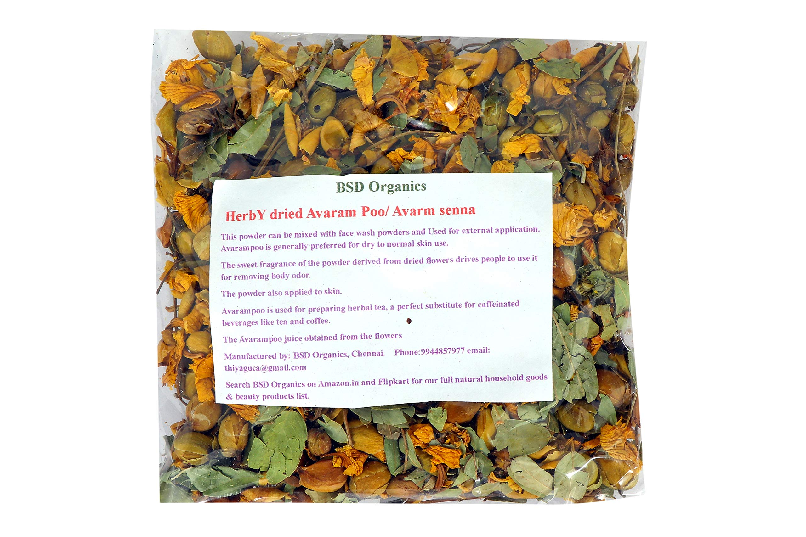 BSD Organics HerbY dried Avaram Poo/Avarm senna/Senna Auriculata/Tanner's cassia/Tamgedu for tea, skin care and more - 100 gram