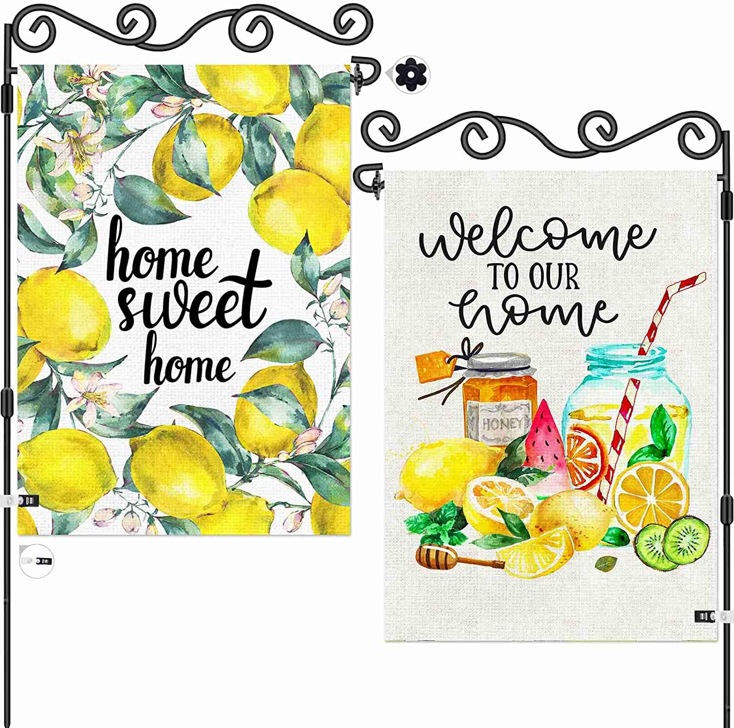 AOKDEER Welcome Lemon Wreath Small Garden Flag 12.5x18 Prime, 2-in-1 Double Sided Summer Burlap Garden Decor House Flags, Yard Signs Gift for Patio Lawn Outdoor Decor, Different Front and Back Flag