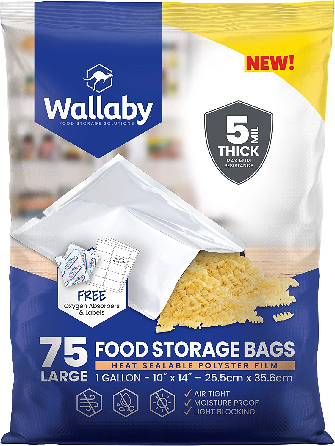 Wallaby Mylar Bag Bundle, (75x) - 1 Gallon - Silver (5 Mil - 10''x14'') With 80x-400cc Oxygen Absorbers and 80x Labels - Heat Sealable, FDA Grade, for Long Term Food Storage & Food Survival