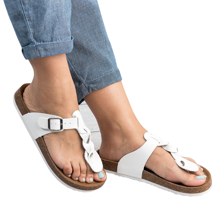 Damen Flip Flops Schuhe Sandalen Schnalle Peep-Toe Slip Sommer Strand Flache  35 EU|Wei?