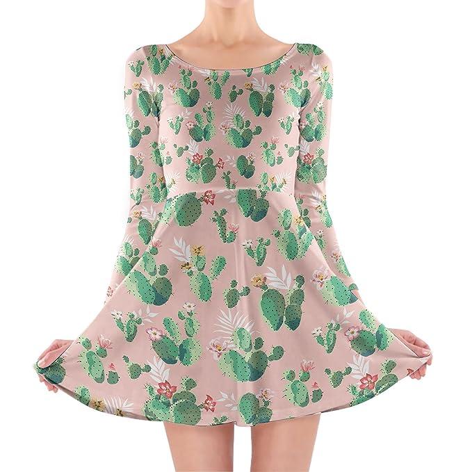 Cactus en flor manga larga vestido skater - Rosado -