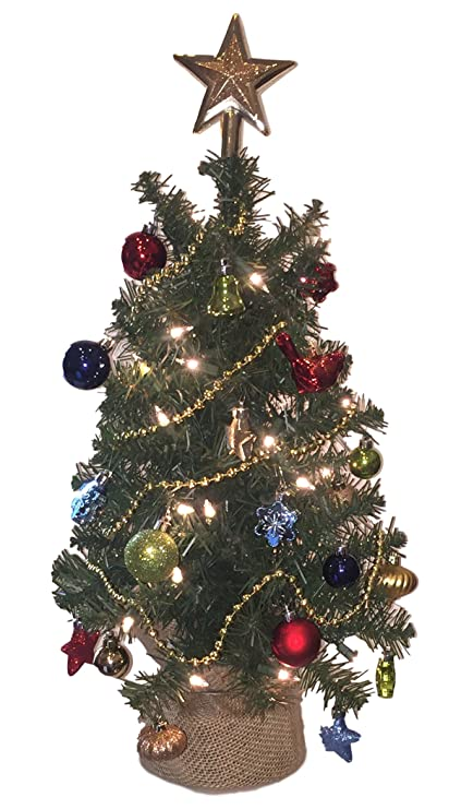 eclectic blackbird small artificial christmas tree pre lit 24 inch evergreen christmas tree pre - Small Lit Christmas Tree