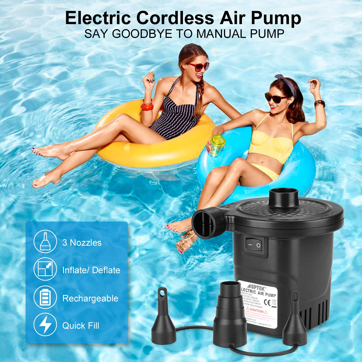 Electric Pump Quick-Fill Inflator /& Deflator with 3 Nozzles AGPTEK Rechargeable Air Pump Lightweight /& Portable Rechargeable Air Pump Perfect for Air Bed Air Mattresses Pool Toy /& Inflatable Boats