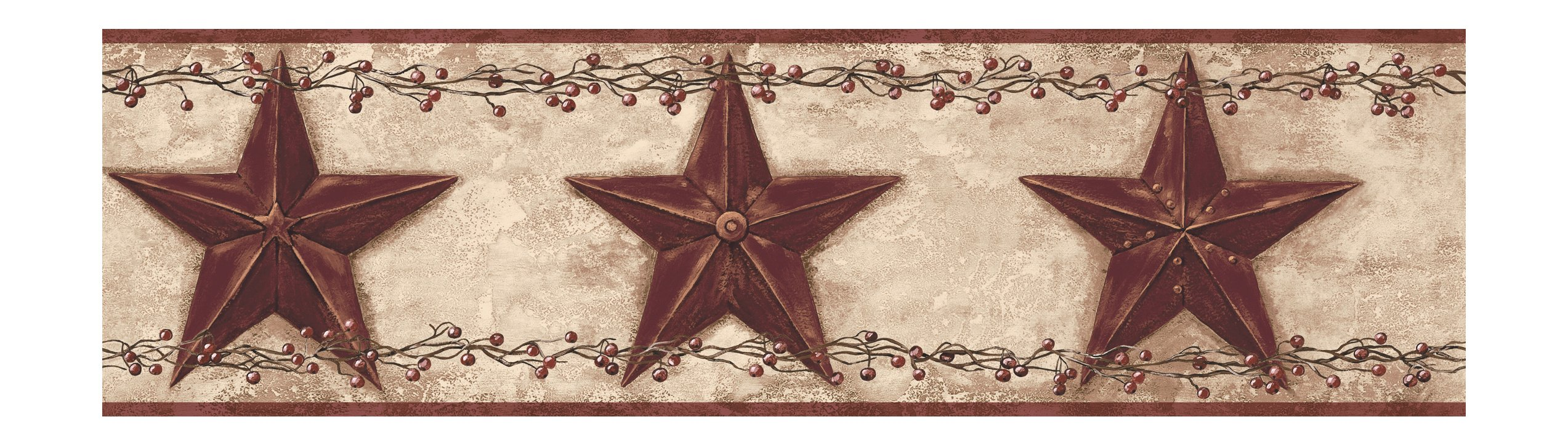 York Wallcoverings Best Of Country PC3918BD Barn Star Berry Border, Khaki/Burgundy
