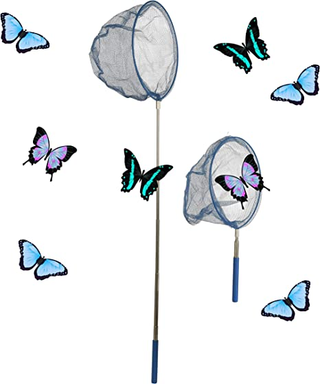 Wowow Toys /& Games Pack of 4 Extendable Butterfly Insect Fishing Nets For Kids Boys /& Girls