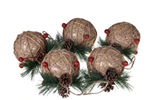 Clever Creations Shatterproof Christmas Tree Ornaments with Pinecones and Berries Large Gold and Jute Twine 80mm Christmas Decor   5 Piece Set Perfect for Christmas Decorations