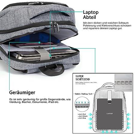 17,3 Laptop Mochila kratzfester Business Notebook Mochila resistente al agua Viaje Mochila ordenador mochila escolar mochila para portátil y Tablet, ...