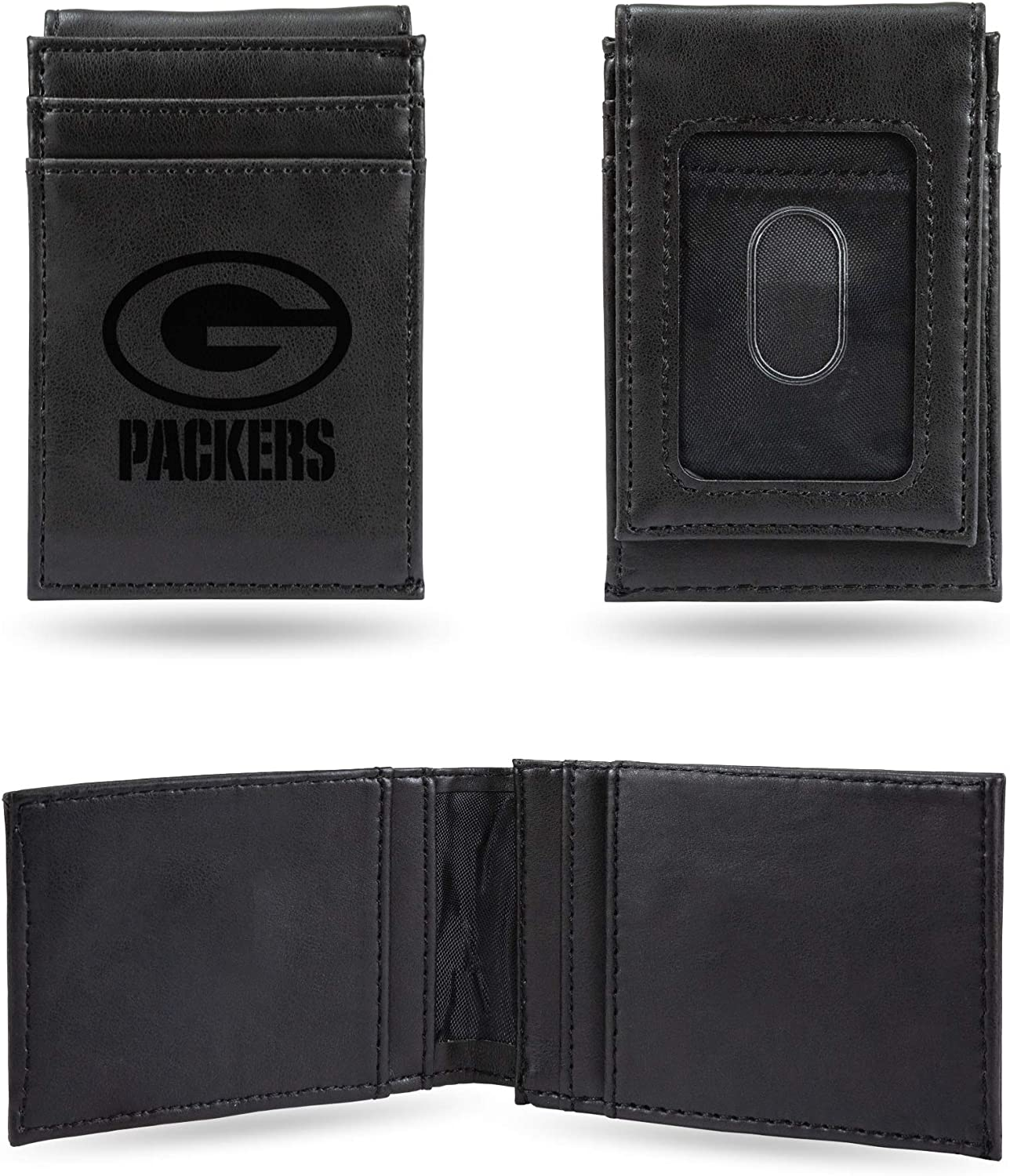 NFL Rico Industries Laser Engraved Front Pocket Wallet, Green Bay Packers