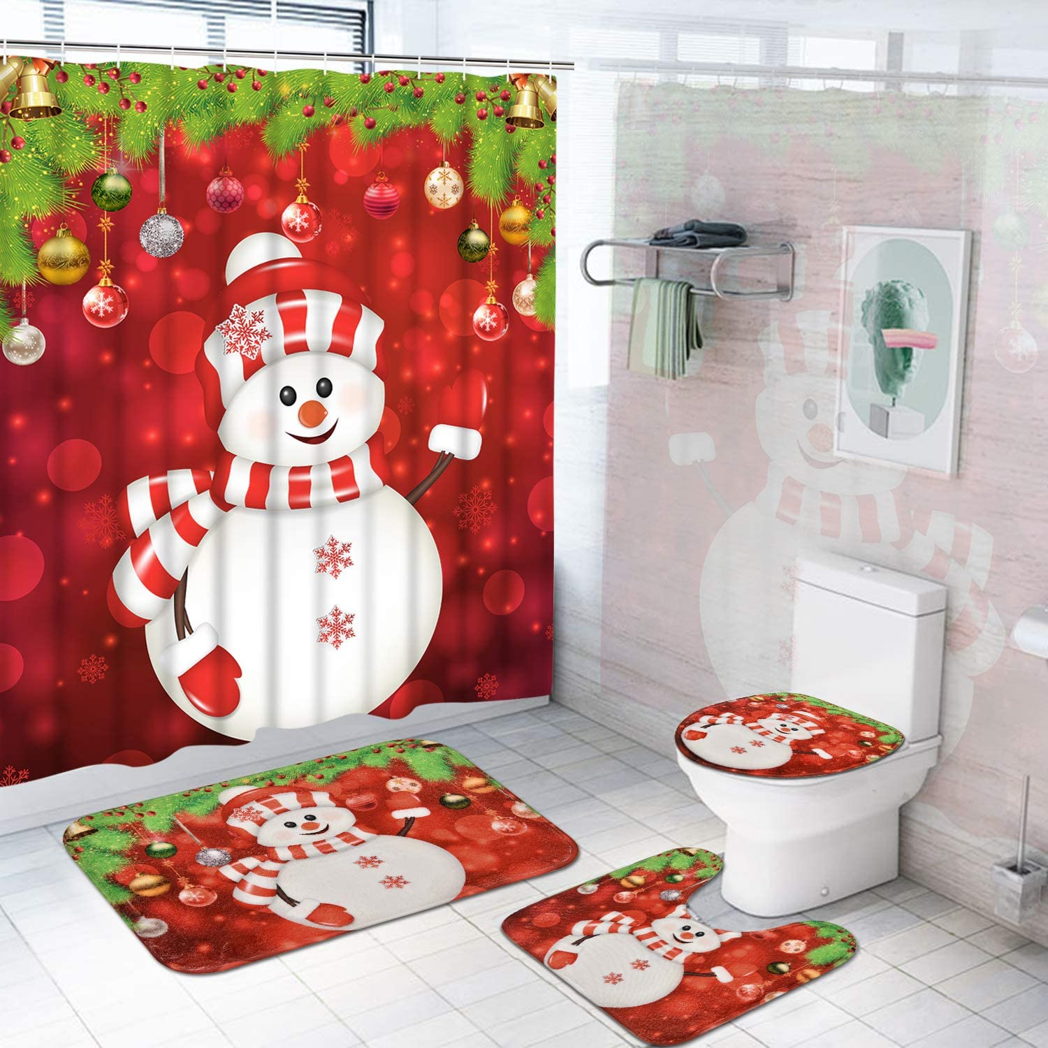 Pknoclan 4Pcs Merry Christmas Shower Curtain Set with Non-Slip Rug, Toilet Lid Cover and Bath Mat, Xmas Snowman Shower Curtains with 12 Hooks, Christmas Balls Shower Curtain for Bathroom, Red