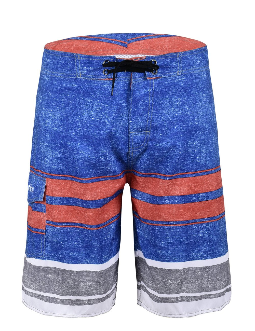 Unitop Men's Summer Holiday Stripped Quick Dry Swim Trunks Blue and Red 32