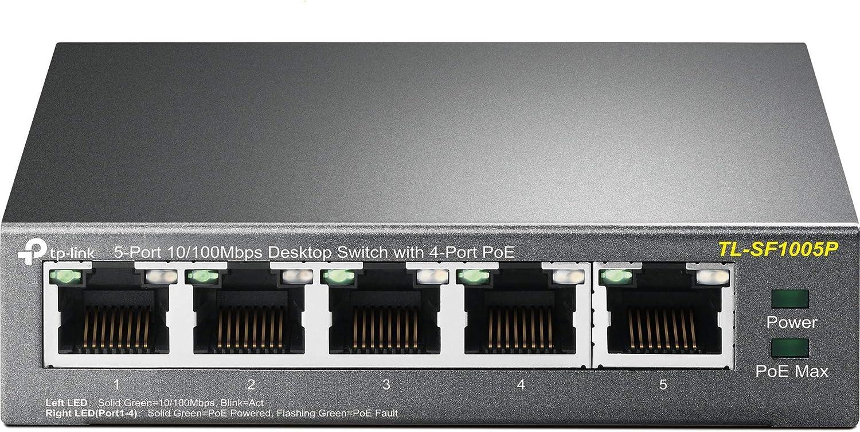 TP-Link TL-SF1005P Switch de Escritorio de 5 Puertos a 10/100 Mbps con PoE de 4 Puertos, 1.0 Gbps, 0.74 Mbps