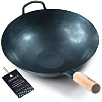 Pre Seasoned Blue Carbon Steel Flat Bottom Wok -14 Inch Chinese Pow Wok - Traditionally Hand Hammered Woks and Stir Fry…