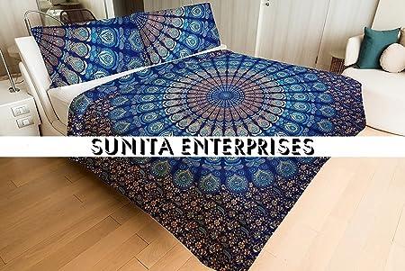 Queen Kantha Quilt Indian Bed Cover Blanket Hippie Tie Dye Shibori Bedspread