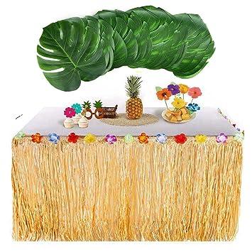 awtlife Falda de mesa hawaiana Luau con 24 piezas Hojas de palma grande tropical para barbacoa Decoraciones de fiesta tropical Tiki Beach Wedding verano: ...