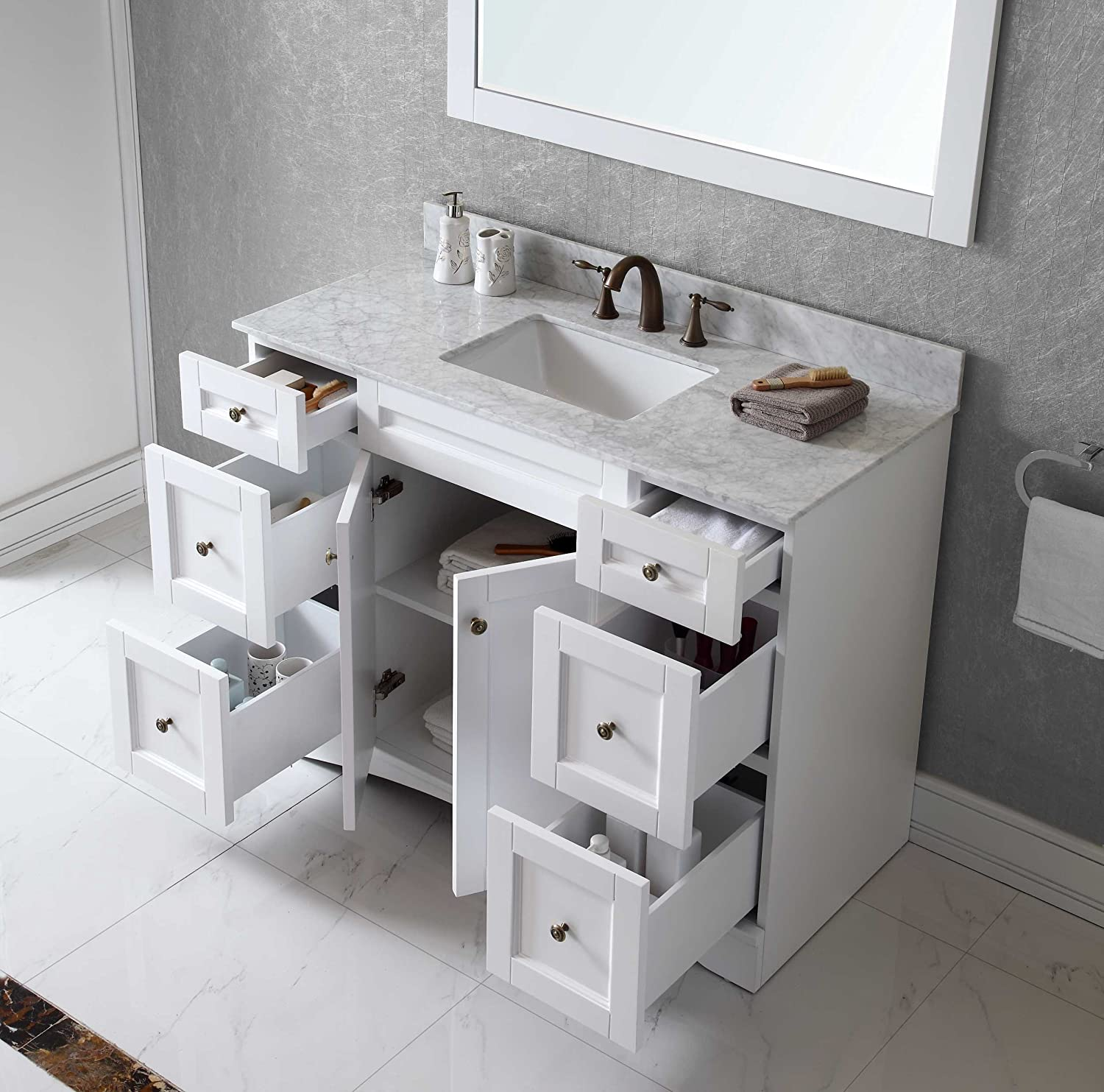 Virtu ESWMSQWH Elise Single Bathroom Vanity Cabinet Set - Single bathroom vanity cabinets