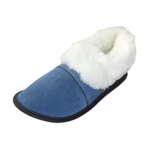 5a41174ce7b Garneau Slippers Women s Lazybones Monet Blue Sheepskin And Suede Slippers  S  6 To 7  Amazon.ca  Shoes   Handbags
