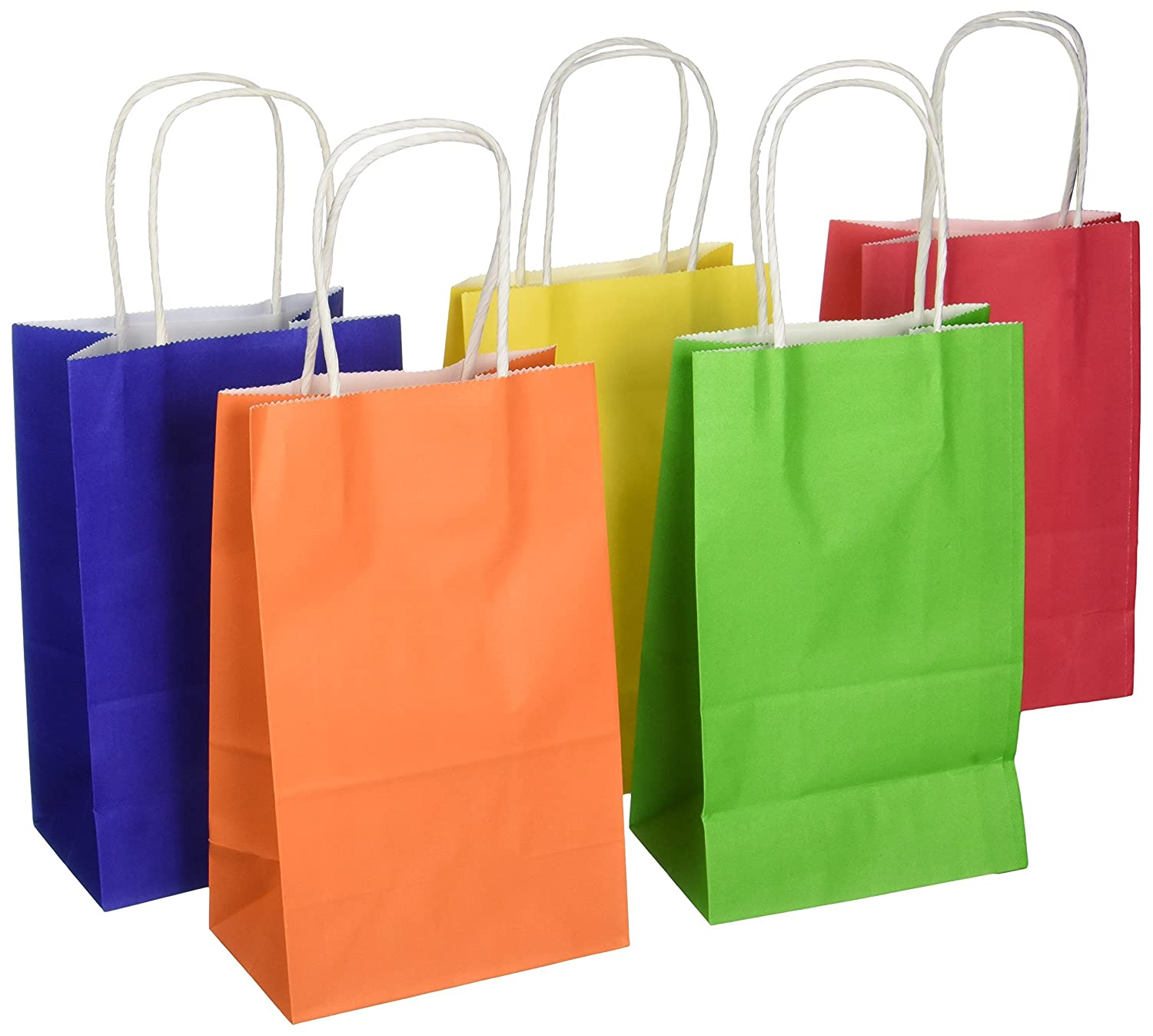 Darice Paper Bags, 3.25 by 5.25 by 8.375-Inch, Assorted Primary ...