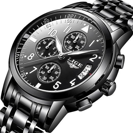 fe2994b66779 Relojes Hombres Negocios Negro Reloj Cronógrafo Marca Lujo Moda Casual  Acero Inoxidable Deporte Impermeable Cuarzo Reloj de Pulsera  Amazon.es   Relojes