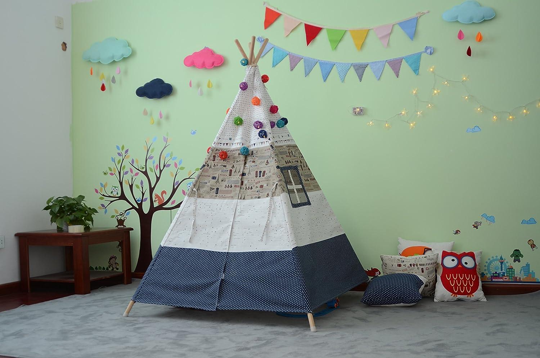 Kleine Junge Kinder Zelt 145cm Indian Tent Kinder Indoor-Spiele Ground Game Zelt Kinder Outdoor Gartenzelt Green White) Eiffelturm Add Matten